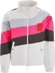 Pink, & Brown Striped White Puffer Jacket