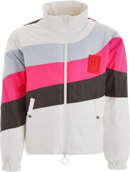 Off White Pink And Brown Stripe Whtie Puffer Jacket