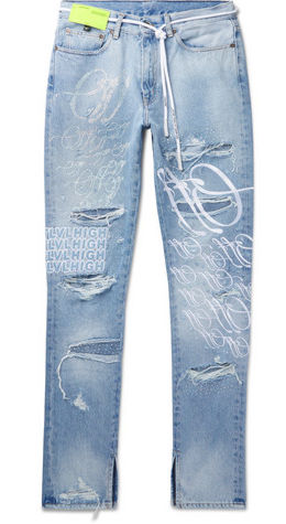 Off White Plus Ev Bravado Crystal Embroidered And Logo Embroidered Distressed Jeans Worn By Rich The Kid In His The World Is Yous 2 Music Video