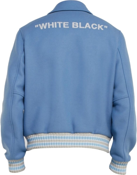 Off White Powder Blue Felt Jacket