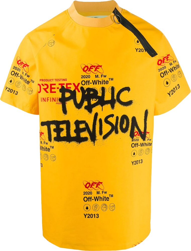 Off White Public Television Print Yellow T Shirt