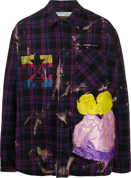 Off White Purple Check Bleached Shirt