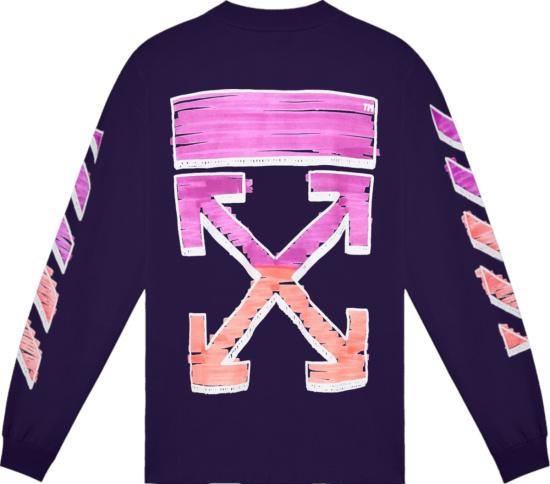 Off White Purple Long Sleeve Marker Arrows T Shirt