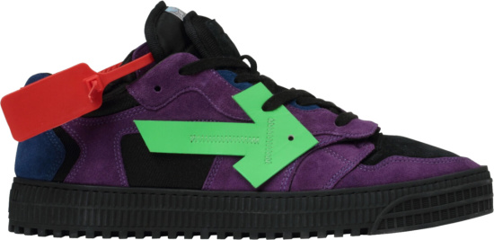 Off White Purple Suede And Black Sneakers