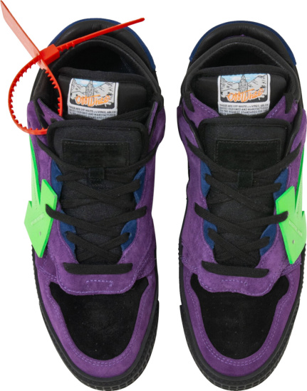 Off White Purple Suede Sneakers With Green Arrow