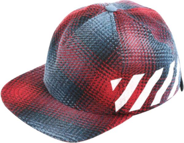 Off White Red And Blue Plaid Tweed Hat