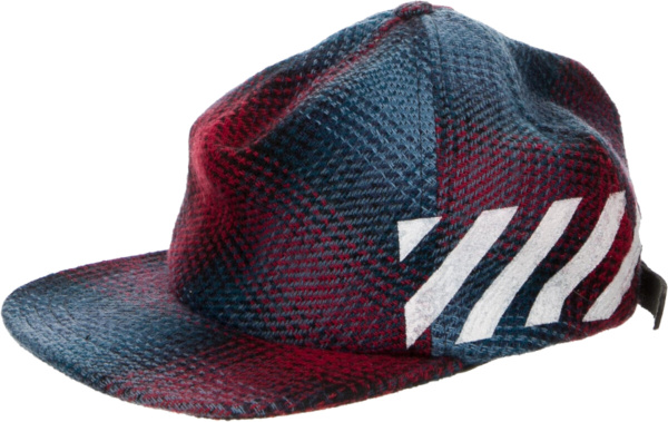 Off White Red Blue Flannel Diag A Frame Hat