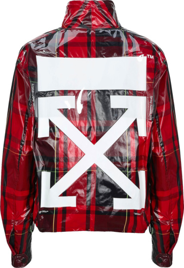 Off White Red Check Zip Jacket