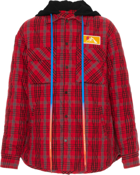 Off White Red Flannel Padded Shirt Jacket