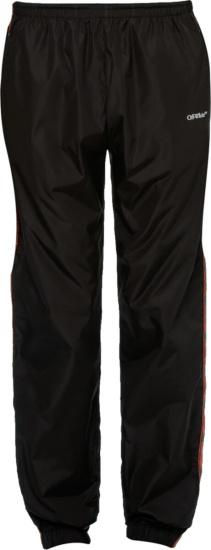 Off White Red Glitter Arrow Stripe Black Trackpants