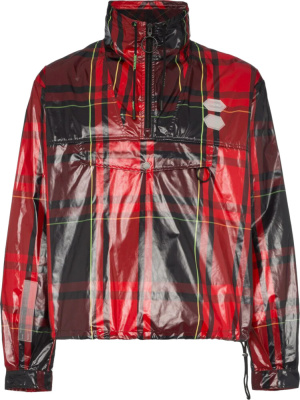 Off White Red Glossy Tartan Anorak Jacket