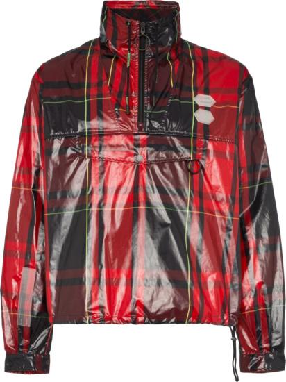 Off White Red Glossy Tartan Anorak Jacket