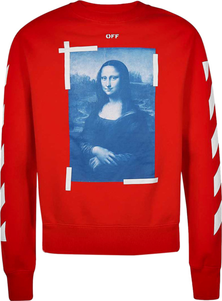 Off White Red Mona Lisa Tape Crewneck Sweatshirt