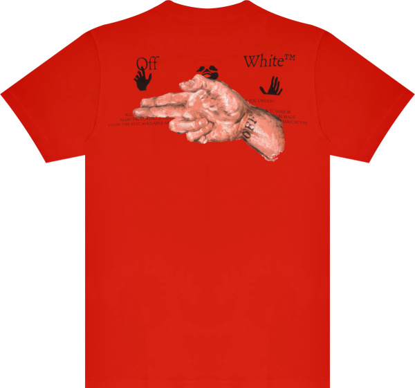 Off White Red Pascal Hand Gun Print T Shirt