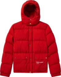 Off White Red Puffer Coat
