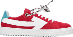 Off White Red Suede Arrow Patch Sneakers