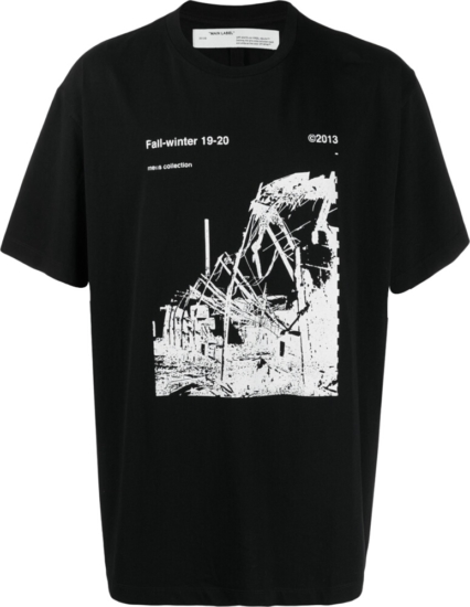 Off White Ruined Factory Black T Shirt