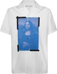 Off White White And Blue Monalisa Print Holiday Shirt