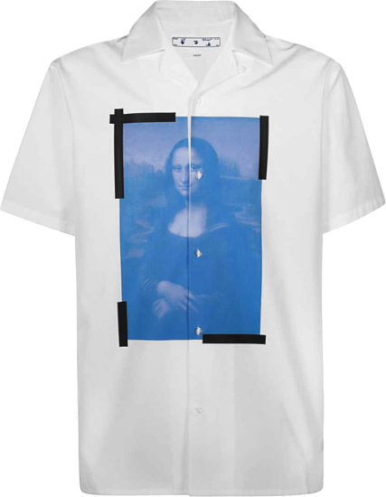 Off White White And Blue Monalisa Print Holiday Shirt