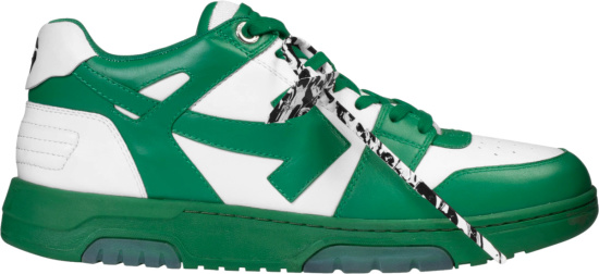 Off White White And Green Ooo Sneakers