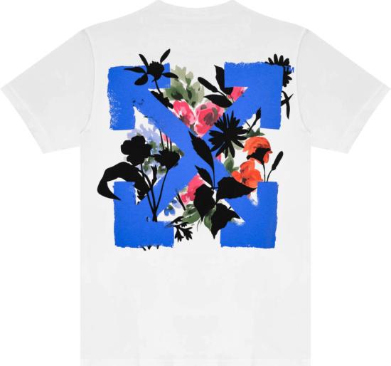 Off White White And Light Blue Flower Arrows Logo T Shirt