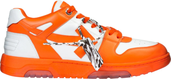 Off White White And Orange Out Of Office Low Top Sneakers