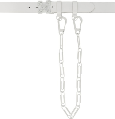 Off White White Leathe Double Arrow Belt