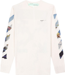 Off White White Long Sleeve Monet Arrow Diag T Shirt