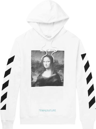 Off White White Mona List Protrait Print Diag Arrow Hoodie