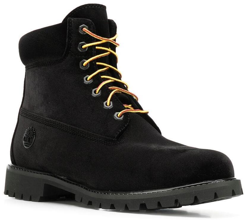 Off White X Timberland Black Velvet Boots