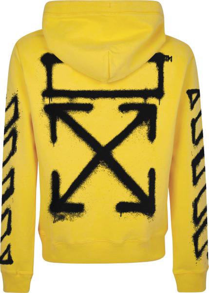 Off White Yellow And Black Graffiti Arrows Logo Hoodie