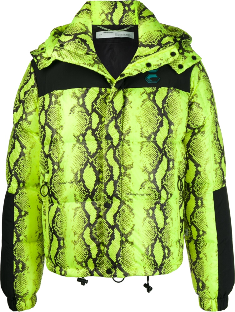 Off White Yellow Snake Print Puffer Ajcket