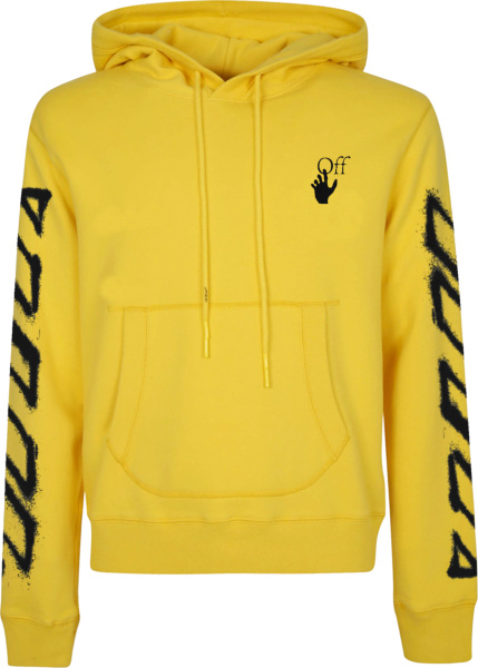 Off White Yellow Spray Marker Logo Hoodie