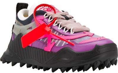 Off Whtie Black And Purple Spike Sneaker