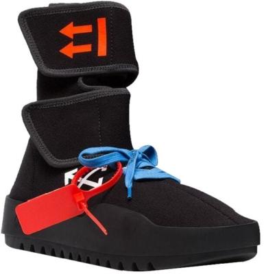 Off Whtie Black High Top Arrow Print Sneakers