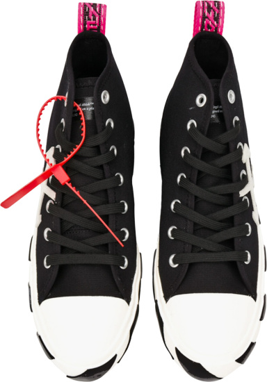 Off Whtie Black High Top Arrow Sneakers