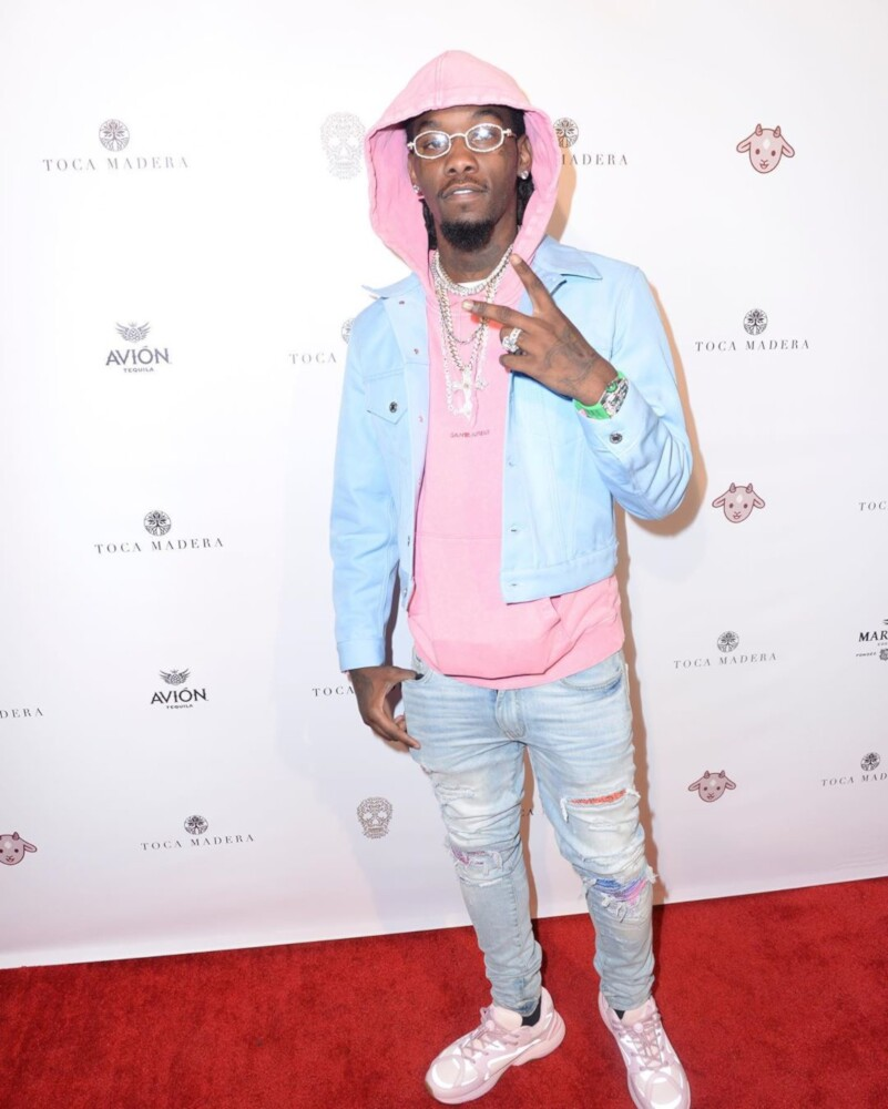 Offset Wearing A Light Blue Helmut Lang Jacket Pink Ysl Hoodie Amiri Jeans And Dior Sneakers