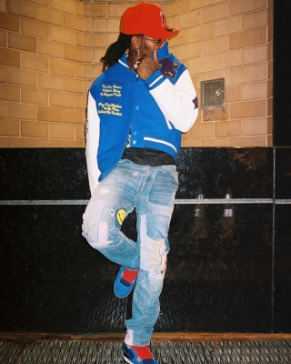 Offset Wearing A Lv Jacket With Kapital Jeans La Angels Hat And Jordan 4s