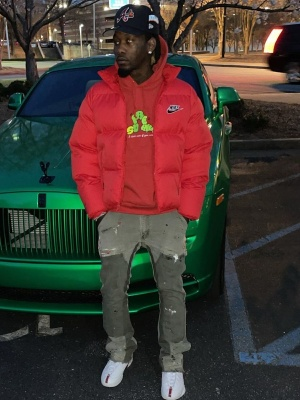 Offset Wearing A Nike X Supreme Puffer Witha Supreme Hoodie Gallery Dept Jeans And Jordans