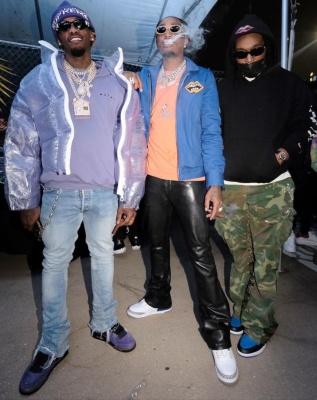 Offset Wearing A Supreme Beanie Louis Vuitton Jacket Marni Hoodie And Jordan 3 Sneakers