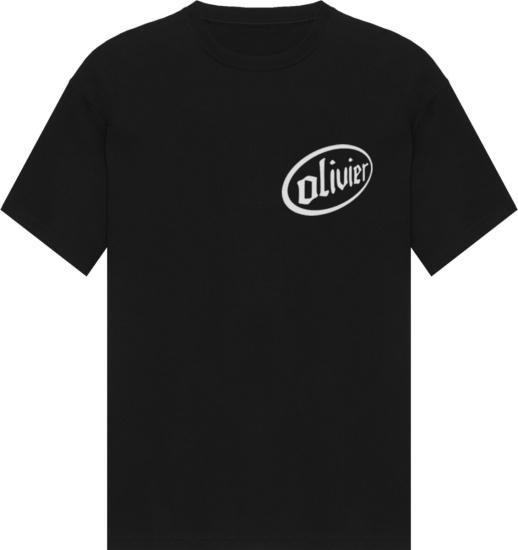 Olivier Black Circle Logo Print T Shirt