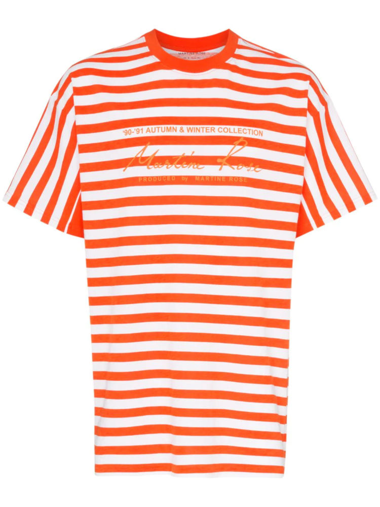Orange And Whtie Striped Shrit Worn By Tyga