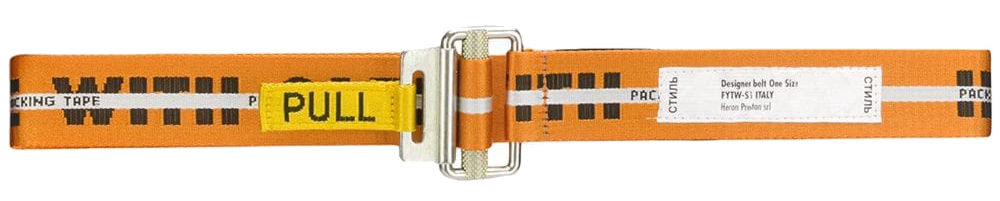 Orange Heron Preston Printed Work Belt With Yellow Pull Tab