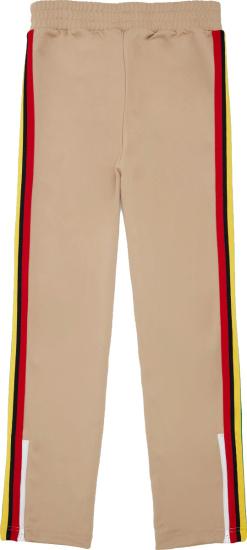 Palm Angels Beige And Rasta Stripe Trackpants