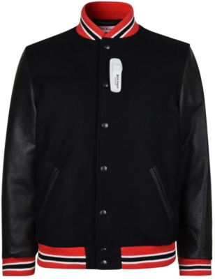 Palm Angels Black Snap Front Authentic Varsity Jacket