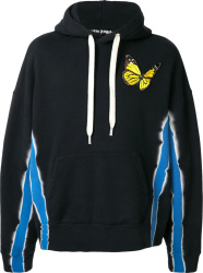 Palm Angels Black And Blue Tiey Dye Butterfly Hoodie