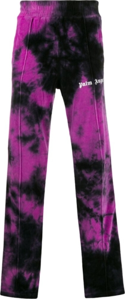 Palm Angels Black And Purple Tie Dye Trackpants
