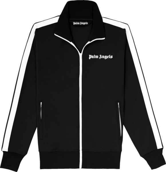Palm Angels Black And White Stripe Track Jacket