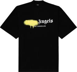 Palm Angels Black And Yellow Sprayed Logo Los Angeles T Shirt