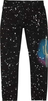 Palm Angels Black Cactus Splatter Jeans